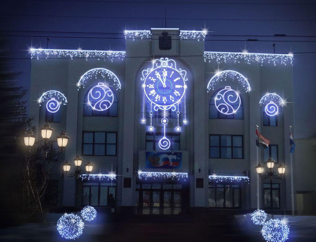 новогоднее оформление зданий под ключ