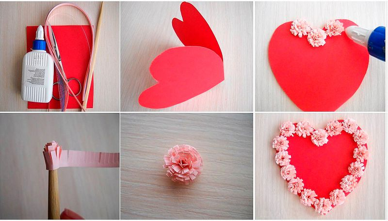 открытка сердечко карсное